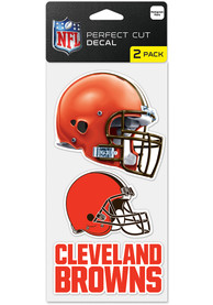 Cleveland Browns 4x4 inch 2 Pack Perfect Cut Auto Decal - Orange
