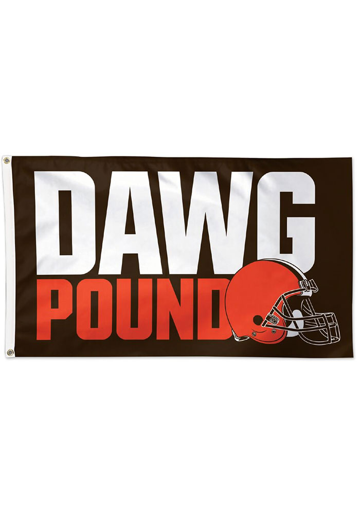 Cleveland Browns Dawg Pound 3x5 Deluxe Brown Silk Screen Grommet Flag - Image 1