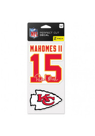Patrick Mahomes Kansas City Chiefs 4x4 inch 2 Pack Perfect Cut Auto Decal - Red