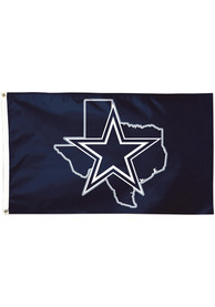 Dallas Cowboys State Shape 3x5 ft Deluxe Navy Blue Silk Screen Grommet Flag
