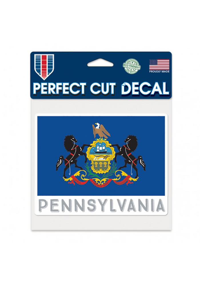 Pennsylvania 6x6 Inch state flag Auto Decal - Blue - Image 1
