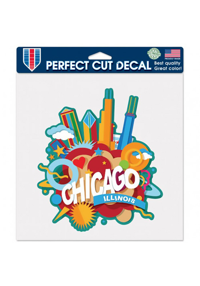 Chicago 8x8 Inch Chicago Auto Decal - Red - Image 1