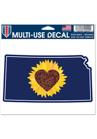 Kansas Outline with Sunflower Heart 5x6 inch Multi Use Auto Decal - Navy Blue