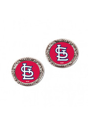 St Louis Cardinals Womens Hammered Post Earrings - Red