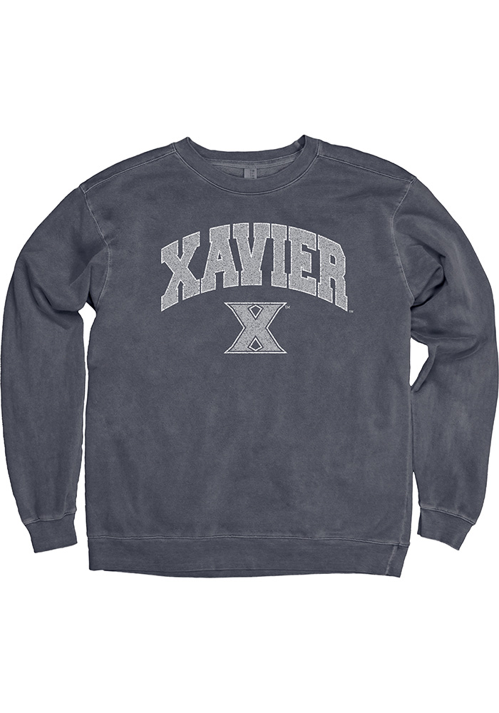 Xavier Musketeers Womens College Arch Navy Blue Crew Sweatshirt