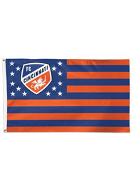 FC Cincinnati 3x5 ft Deluxe Orange Silk Screen Grommet Flag