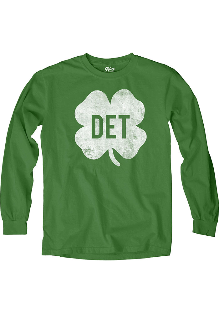 Detroit Green Shamrock Initials Long Sleeve T Shirt - Image 1