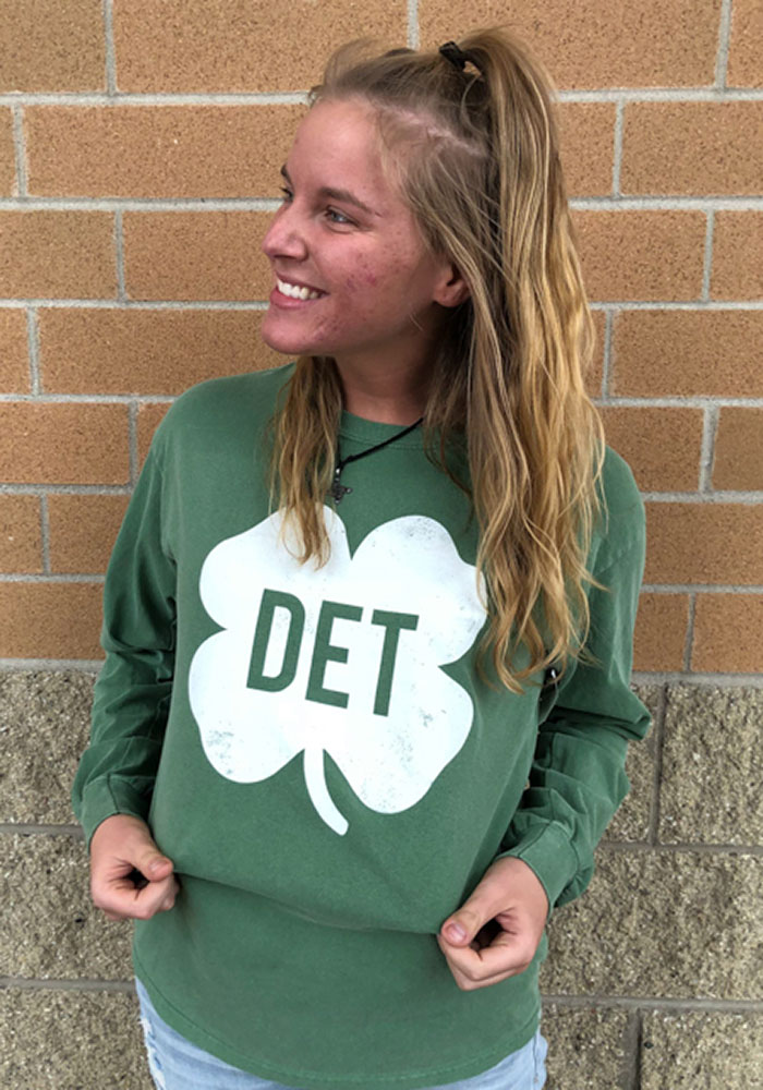 Detroit Green Shamrock Initials Long Sleeve T Shirt - Image 2