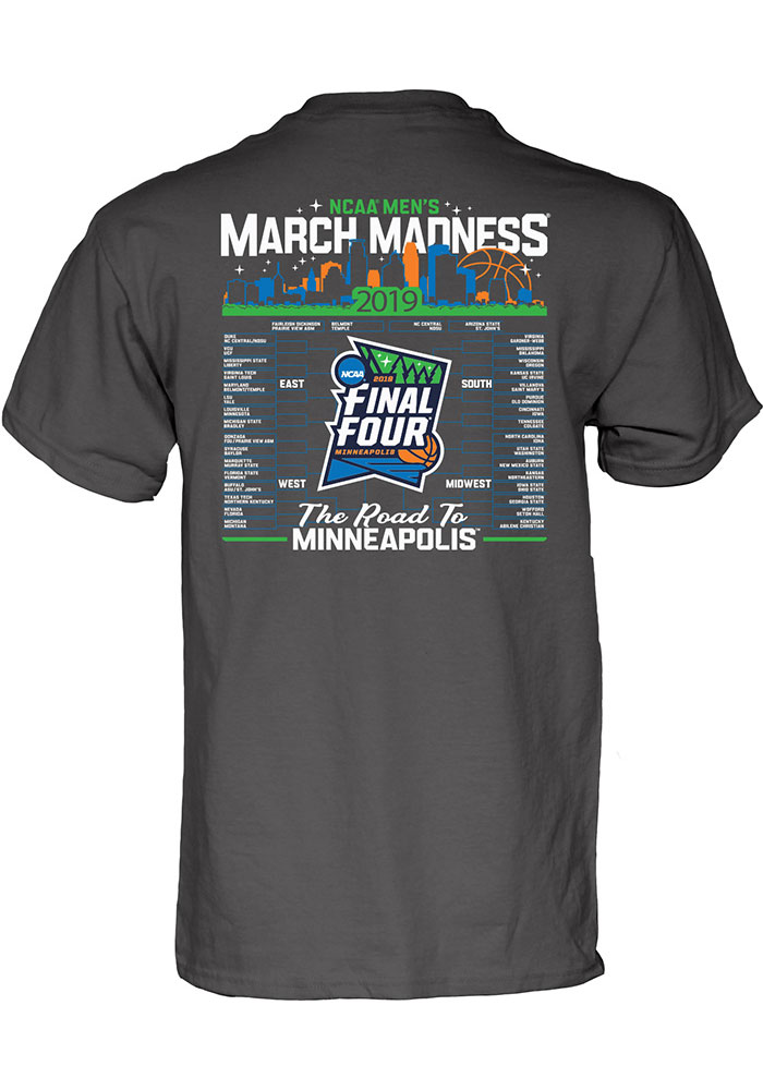 2019 March Madness Bound Road to the Final Four Charcoal Short Sleeve T Shirt - Image 2