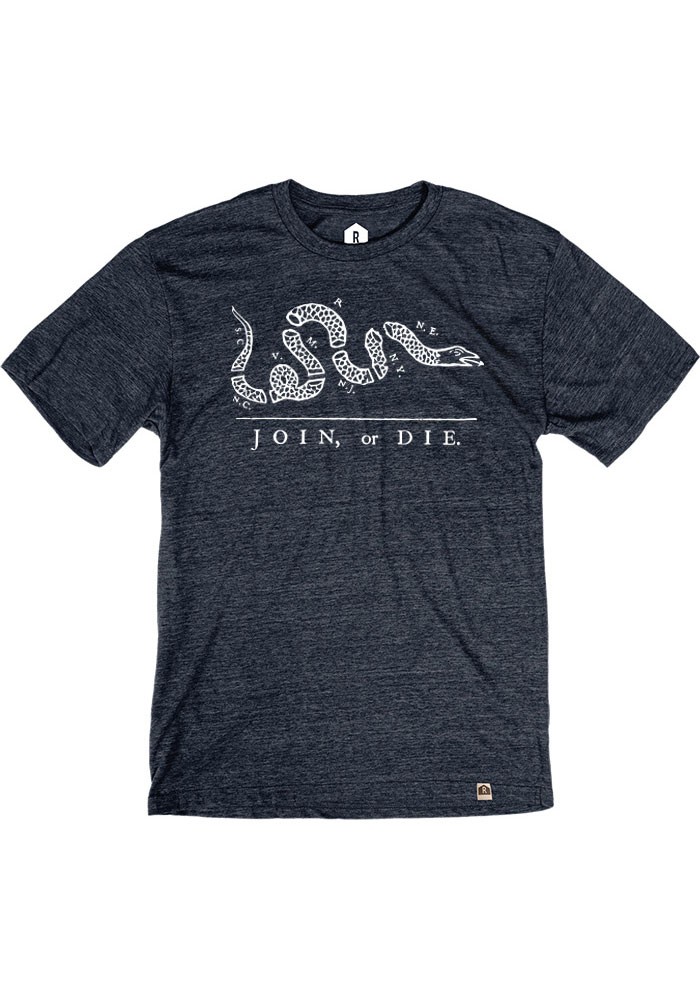 Philadelphia Navy Blue Join or Die Short Sleeve Fashion T Shirt - Image 1
