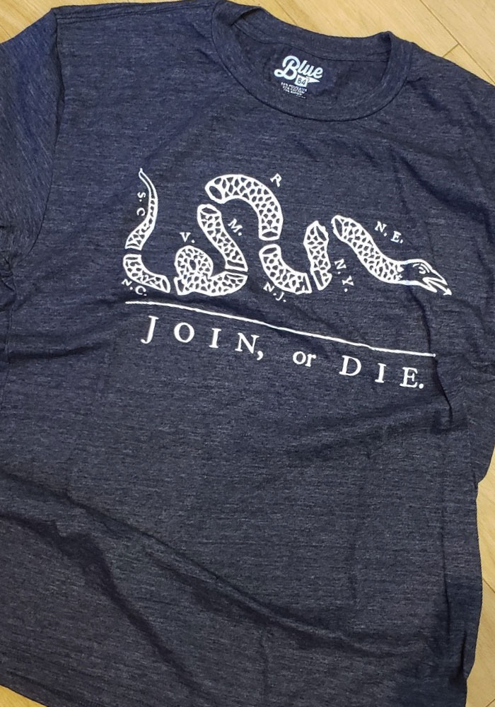 Philadelphia Navy Blue Join or Die Short Sleeve Fashion T Shirt - Image 2