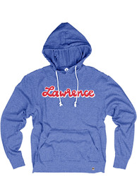 Lawrence Royal Distressed Script Long Sleeve T-Shirt Hood