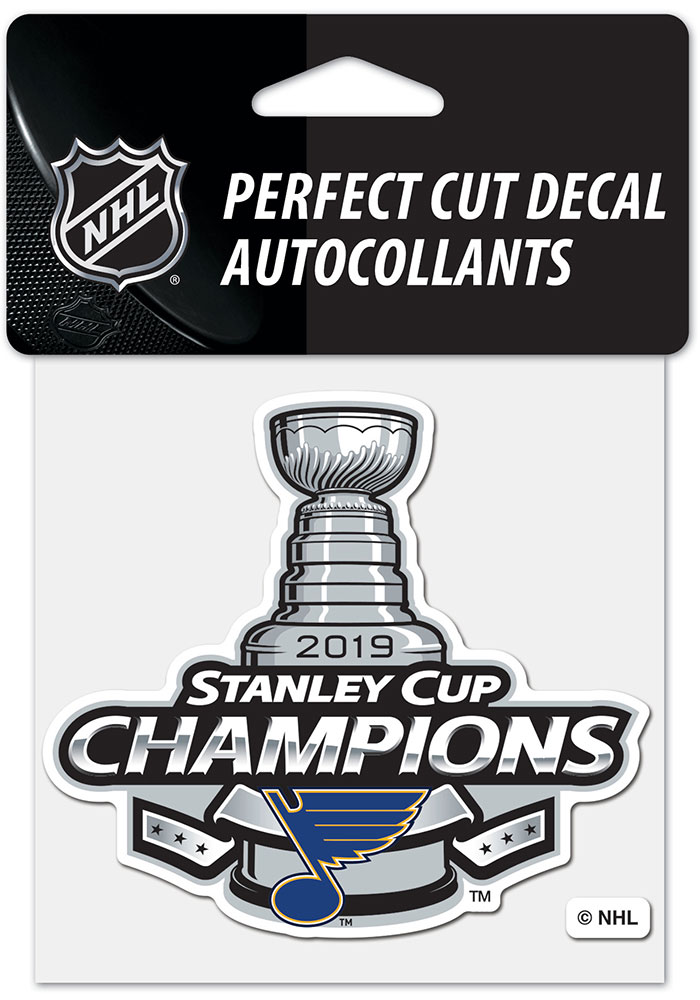 St Louis Blues 2019 Stanley Cup Champs 4x4 inch Perfect Cut Auto Decal - Blue - Image 1