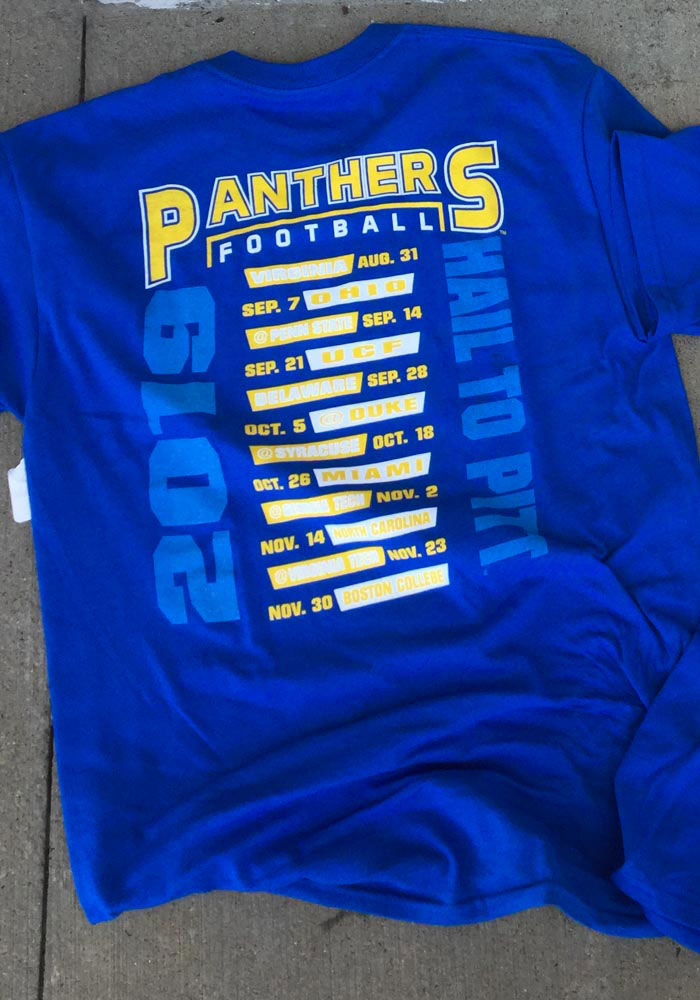 Pitt Panthers Blue Football Schedule Short Sleeve T Shirt - Image 3