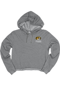 Missouri Tigers Womens Grey Cassie Prime Rate Cropped Hoodie