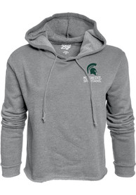 Michigan State Spartans Womens Grey Cassie Prime Rate Cropped Hoodie