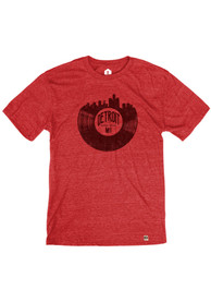 Detroit Red Record Skyline Short Sleeve T Shirt
