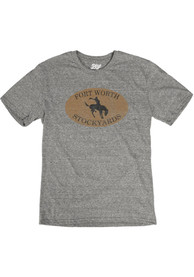 Fort Worth Grey Bronco Short Sleeve T Shirt