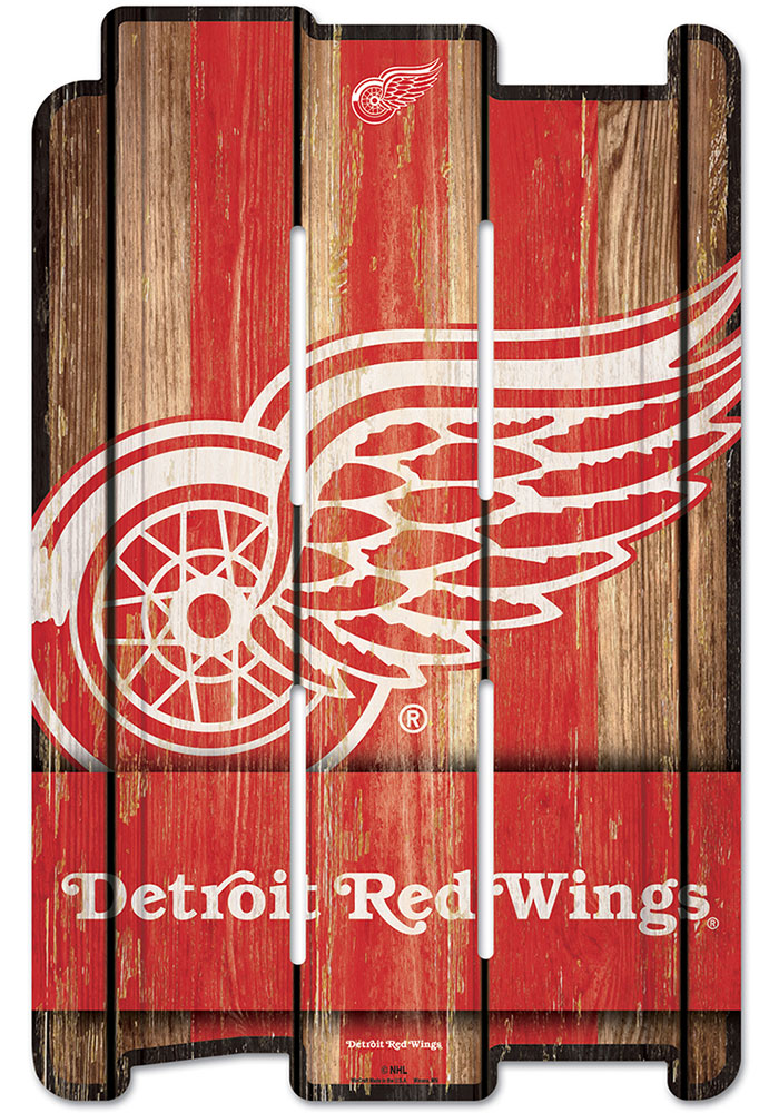 Detroit Red Wings 11x17 Vertical Plank Sign - Image 1