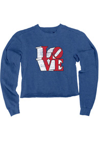 Philly Women's Royal Love Cropped Long Sleeve T Shirt