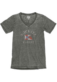 Wichita Womens Charcoal City Flag Short Sleeve V Neck T Shirt