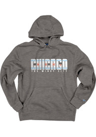 Chicago Dark Grey Flag Long Sleeve Fleece Hood Sweatshirt