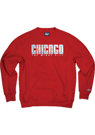 Chicago Wordmark Flag Crew Sweatshirt - Red
