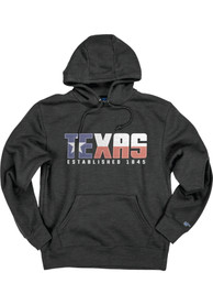 Texas Dark Grey Flag Long Sleeve Fleece Hood Sweatshirt