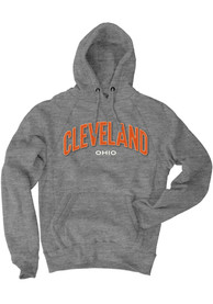Cleveland Grey Ohio Long Sleeve Fleece Hood Sweatshirt