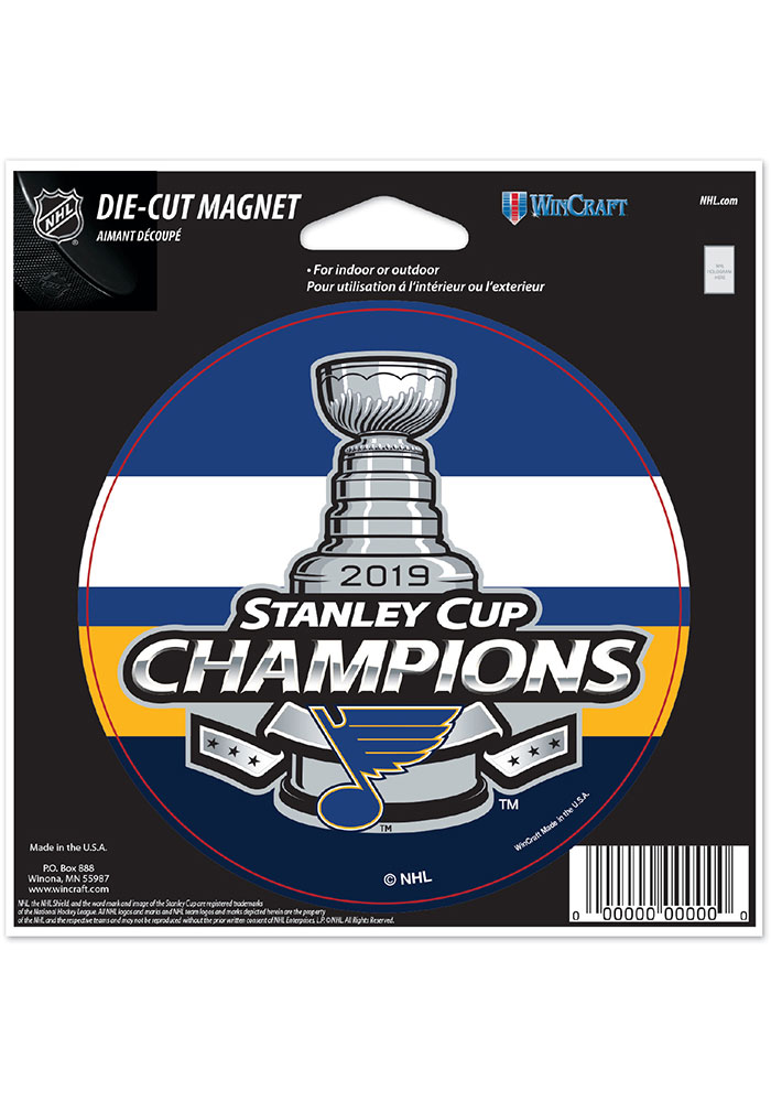 St Louis Blues 2019 Stanley Cup Champs 4 Inch Round Magnet - Image 1