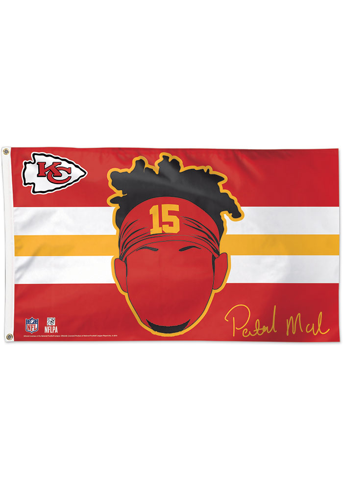 Kansas City Chiefs Patrick Mahomes Deluxe Red Silk Screen Grommet Flag - Image 1