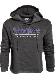 K-State Wildcats Womens Black Cassie High Jinks Cropped Hoodie