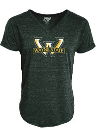 Wayne State Warriors Womens Confetti V-Neck T-Shirt - Green