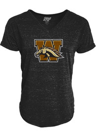 Western Michigan Broncos Womens Confetti V-Neck T-Shirt - Black