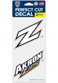 Akron Zips 4x4 inch 2 Pack Auto Decal - Blue