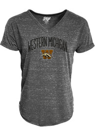 Western Michigan Broncos Womens Confetti V-Neck T-Shirt - Charcoal