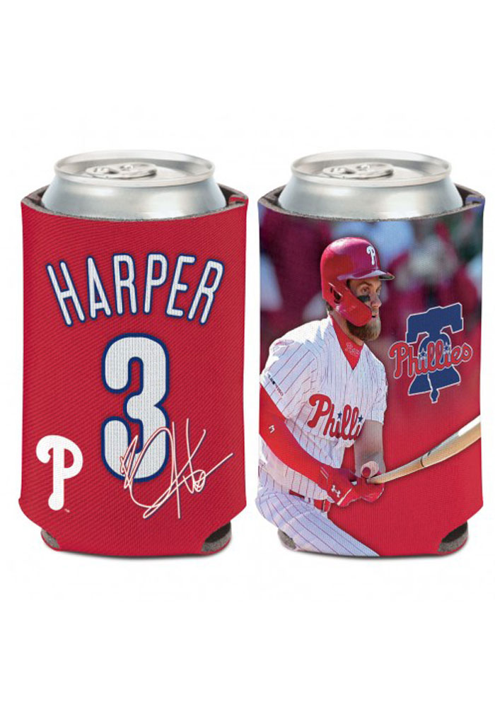 Philadelphia Phillies Bryce Harper Name and Number 12oz Can Koozie - Image 1