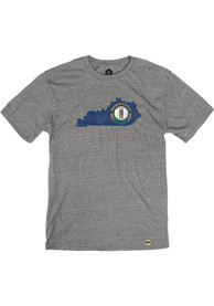 Kentucky Grey Flag State Shape Short Sleeve T Shirt