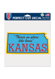 Kansas No Place Like Home 8x8 inch Perfect Cut Auto Decal - Blue