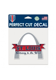 St Louis Gateway to the West 6x6 inch Perfect Cut Auto Decal - White