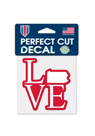 Pennsylvania Love 4x4 inch Perfect Cut Auto Decal - Red