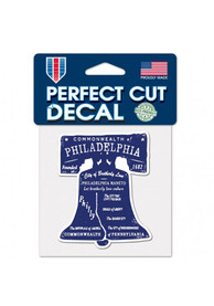 Philadelphia Bell Shaped 4x4 inch Perfect Cut Auto Decal - Purple