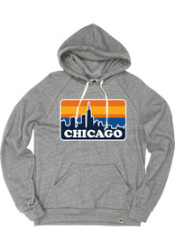 Chicago Grey Skyline Long Sleeve Fleece Hood Sweatshirt