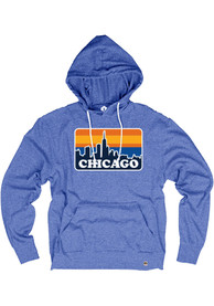 Chicago Blue Skyline Long Sleeve T-Shirt Hood