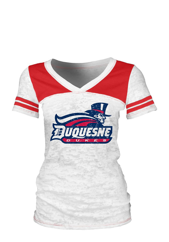 Duquesne Dukes Juniors White Burnout V-Neck T-Shirt - Image 1