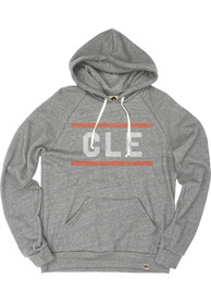 Cleveland Grey Block Long Sleeve Fleece Hood Sweatshirt