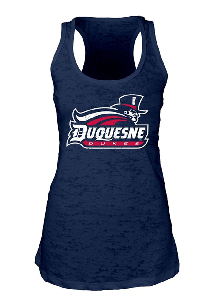 Duquesne Dukes Juniors Navy Blue Pocket Burn Tank Top - Image 1