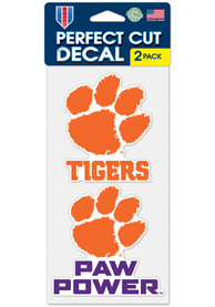 Clemson Tigers 4x4 inch 2 Pack Perfect Cut Auto Decal - Orange