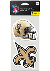 New Orleans Saints 4x4 inch 2 Pack Perfect Cut Auto Decal - Gold