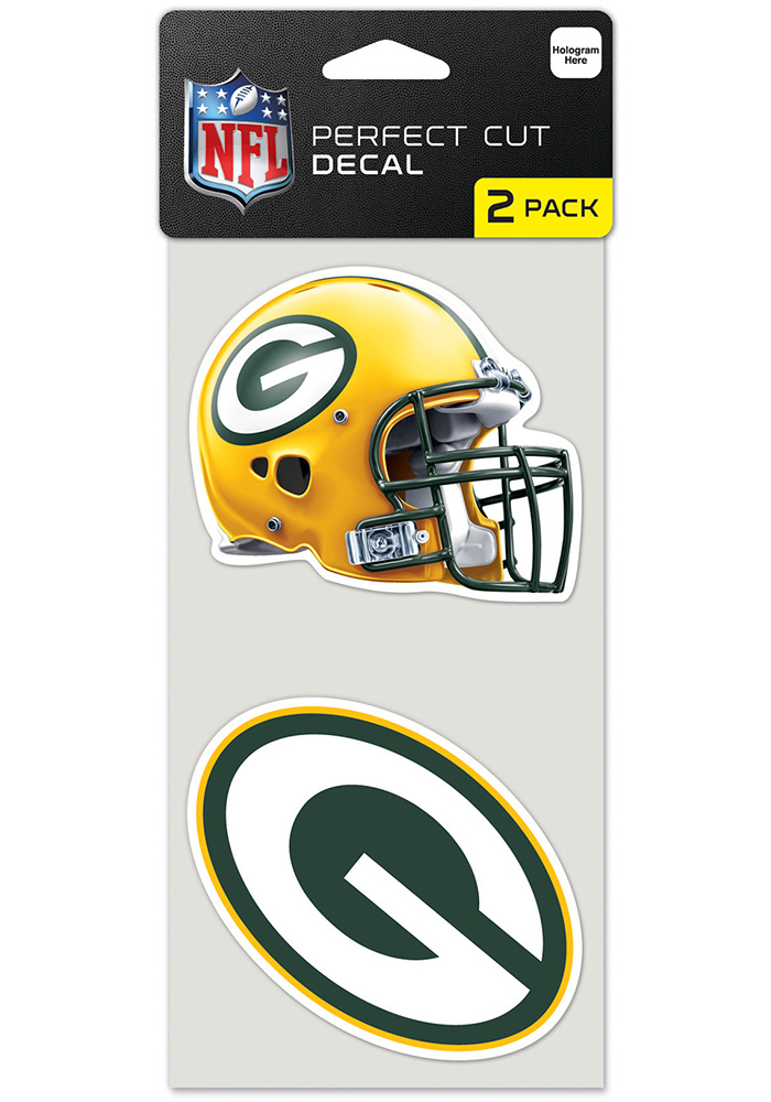 Green Bay Packers 4x4 Perfect Cut 2 Set Auto Decal - Green - Image 1